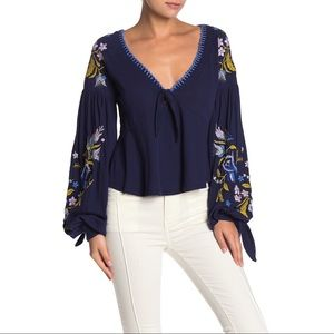 Free People Kara Embroidered Long Sleeve Top